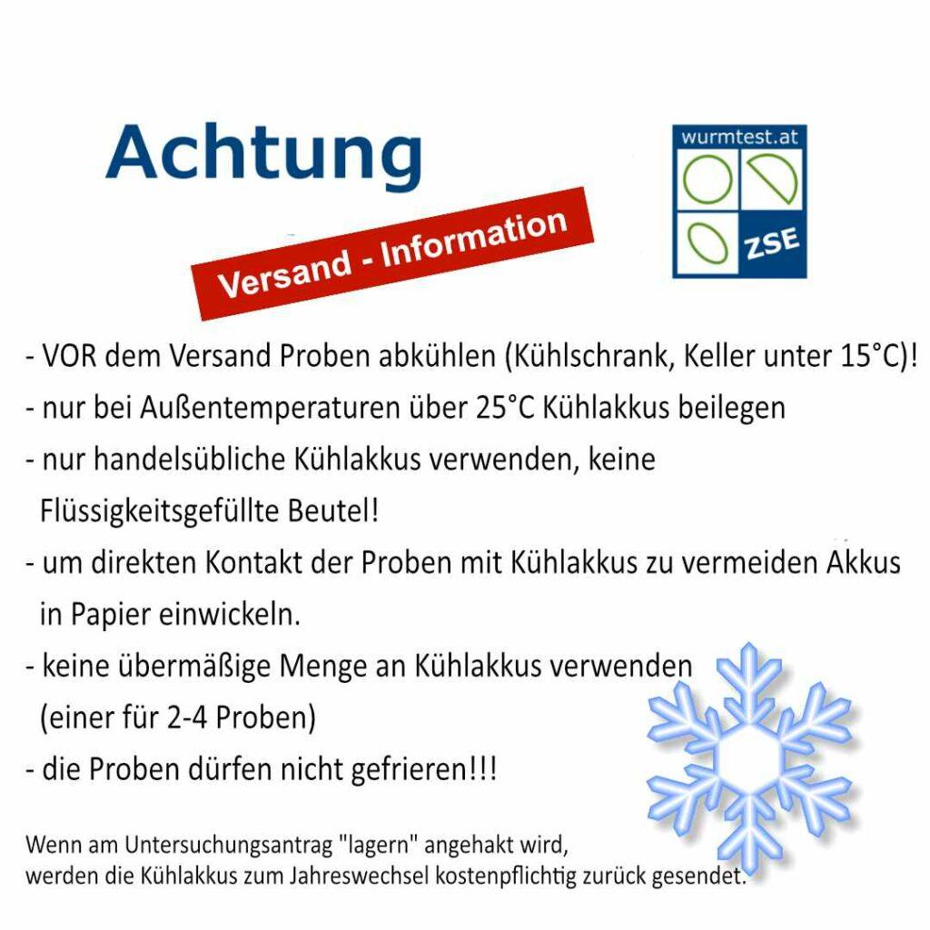 Informationen zur Versendung - Kühlakkus